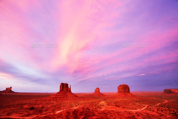 Purple sunset over the Monument Valley, USA - Stock Photo - Images