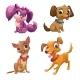 Cartoon Little Puppies Set