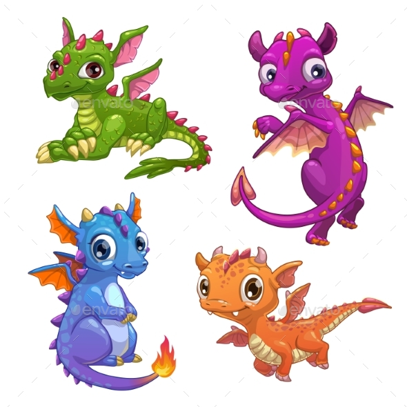 GraphicRiver Little Dragons Set 21198215