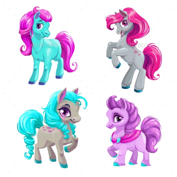 Cartoon Little Horses Set - Animals Characters