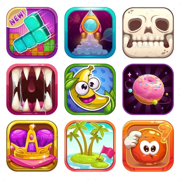 GraphicRiver Cartoon App Icons for Game Design 21198228