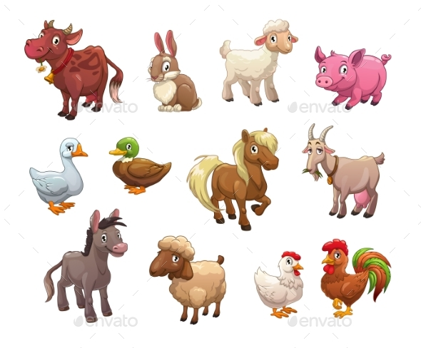 Set of Cartoon Farm Animals - Animals Characters