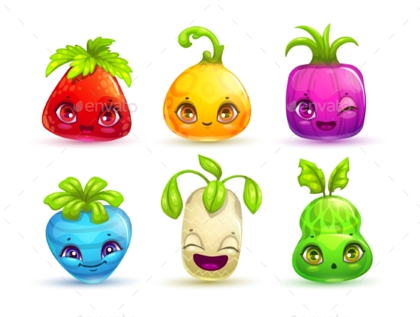 GraphicRiver Cartoon Colorful Fantasy Plant Characters 21198244