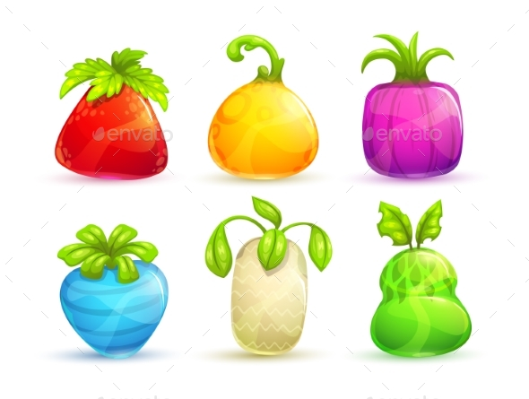 Cartoon Bright Colorful Fantasy Fruits - Food Objects