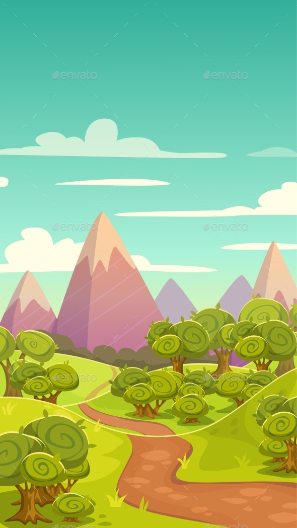 Cartoon Vertical Nature Landscape - Landscapes Nature