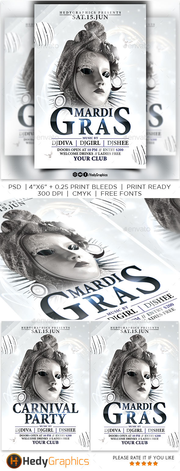 Mardi Gras & Carnival - Flyer - Clubs & Parties Events