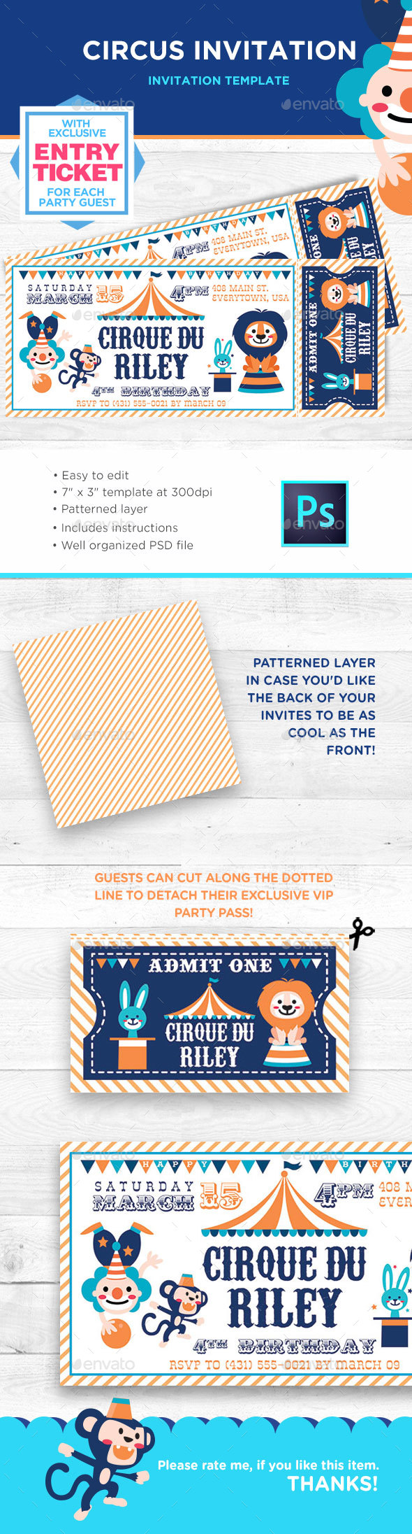GraphicRiver Circus Birthday Invitation 21199171