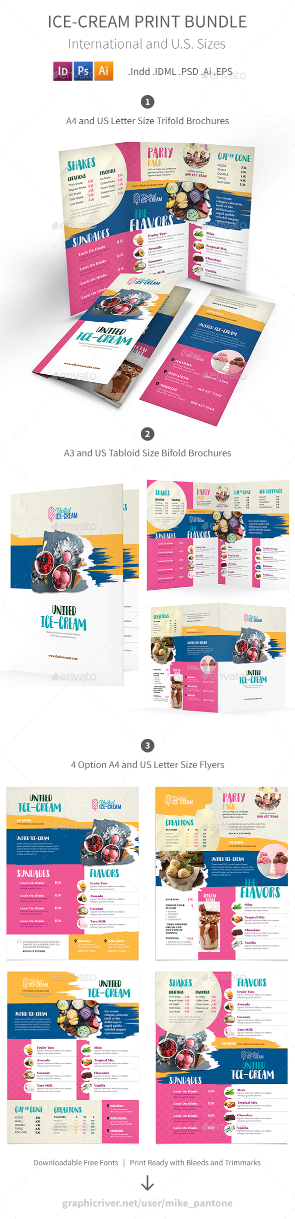 GraphicRiver Ice-cream Restaurant Print Bundle 3 21199226
