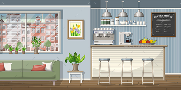 GraphicRiver Illustration of a Classic Coffee Shop 21199264