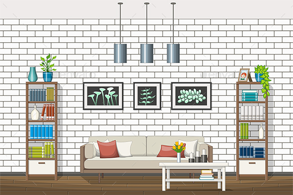 GraphicRiver Illustration of a Modern Living Room 21199278