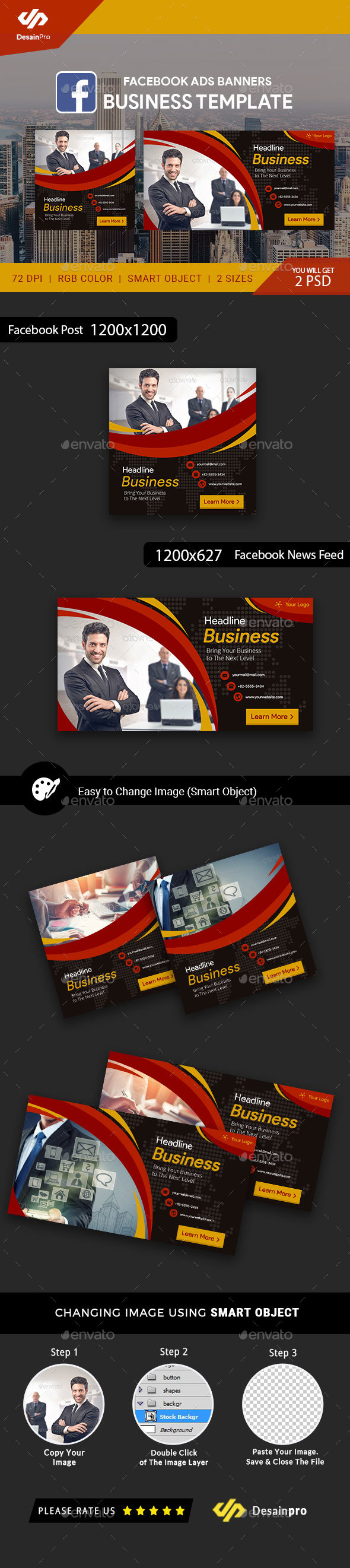 Business Service Facebook Ad Banners - AR - Social Media Web Elements