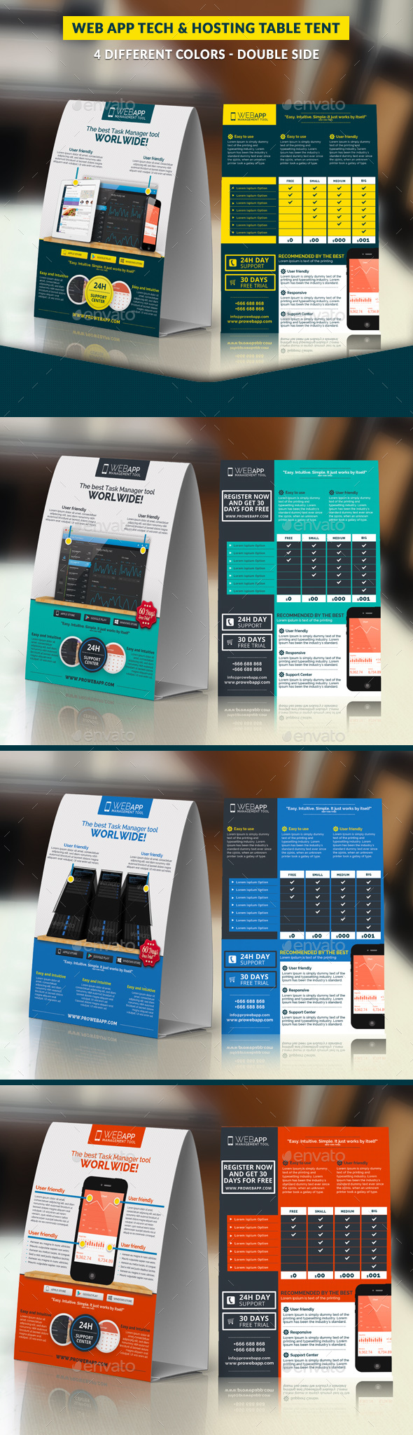 GraphicRiver Web App Tech and Hosting Table Tent Template 21199304