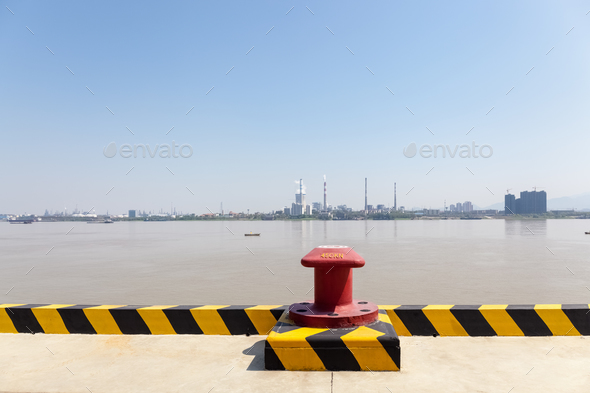 inland pier and yangtze river landscape - Stock Photo - Images