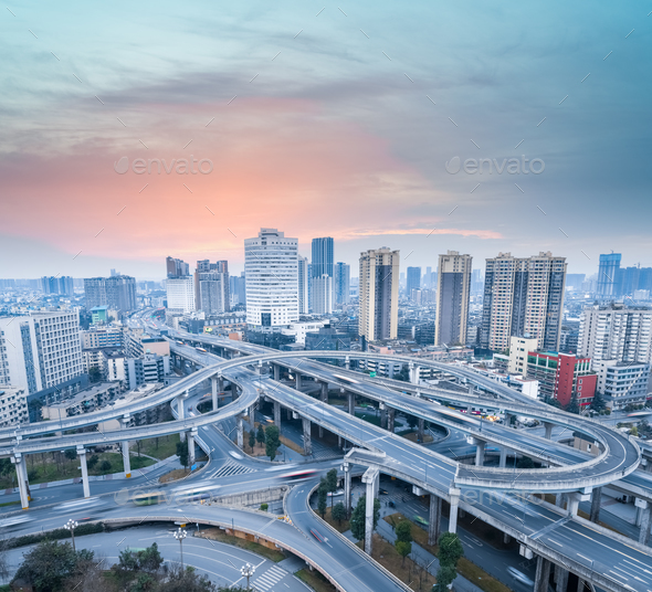 city interchange at dusk - Stock Photo - Images