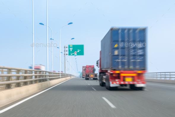container trucks on bay bridge - Stock Photo - Images