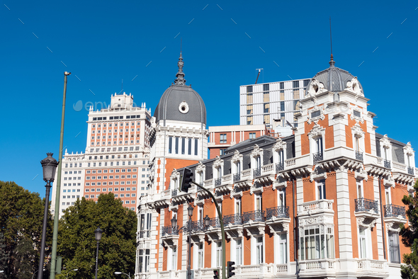 Typical buildings in Madrid, Spain - Stock Photo - Images