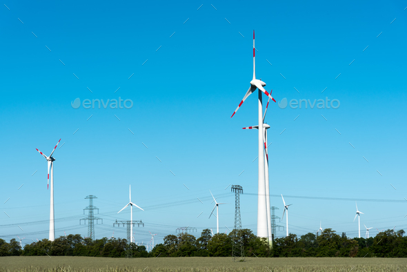 Wind power plants in Germany - Stock Photo - Images