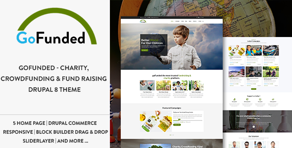 Gofunded - Charity, Crowdfunding & Fund Raising Drupal 8 Theme
