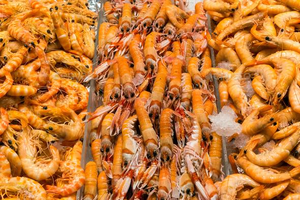 Fresh shrimps for sale a market - Stock Photo - Images