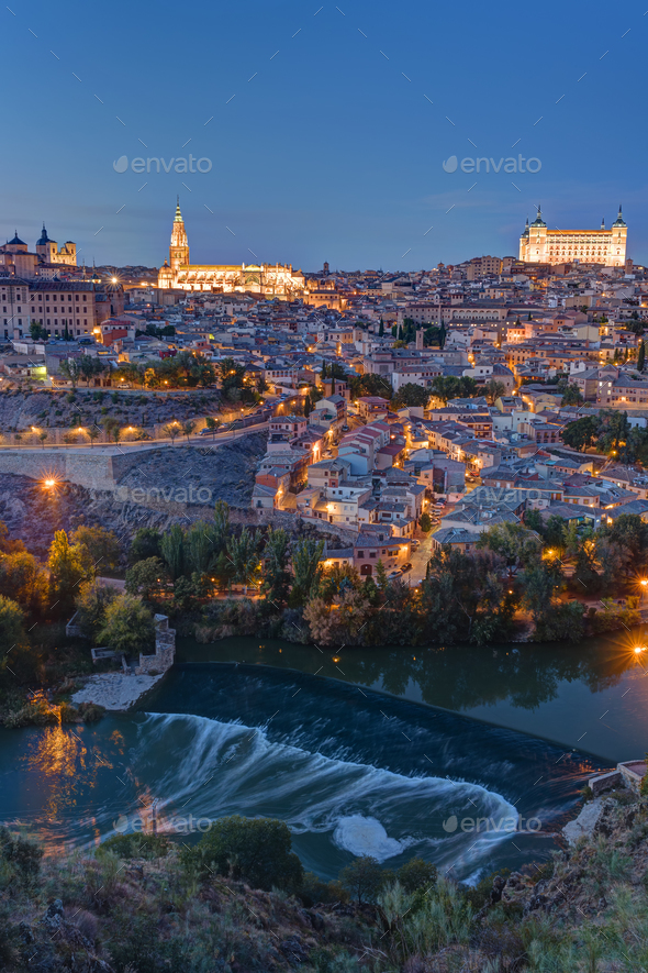 View of Toledo in Spain with the Tagus river - Stock Photo - Images