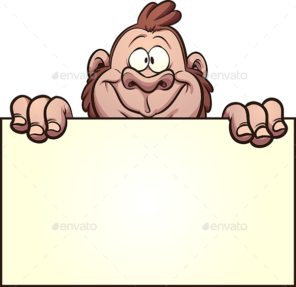 GraphicRiver Gorilla Holding Blank Sign 21199521