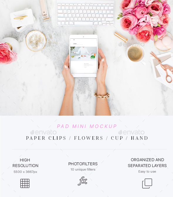 GraphicRiver Beauty & Flowers Pad Mini Mockup 21190972