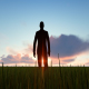 Silhouette Man Walking On The Field - VideoHive Item for Sale