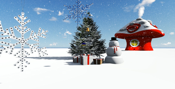 VideoHive Snowman and Christmas Snowy Background 21199649