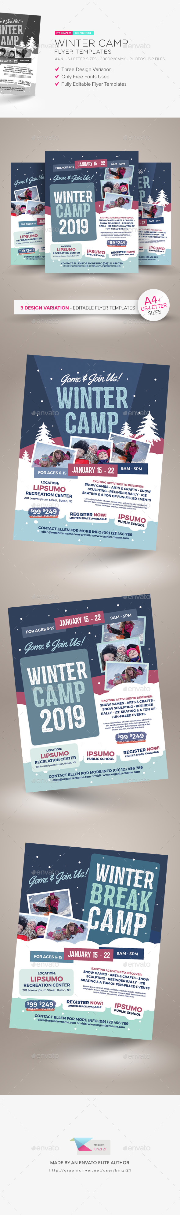 Winter Camp Flyer Templates - Miscellaneous Events
