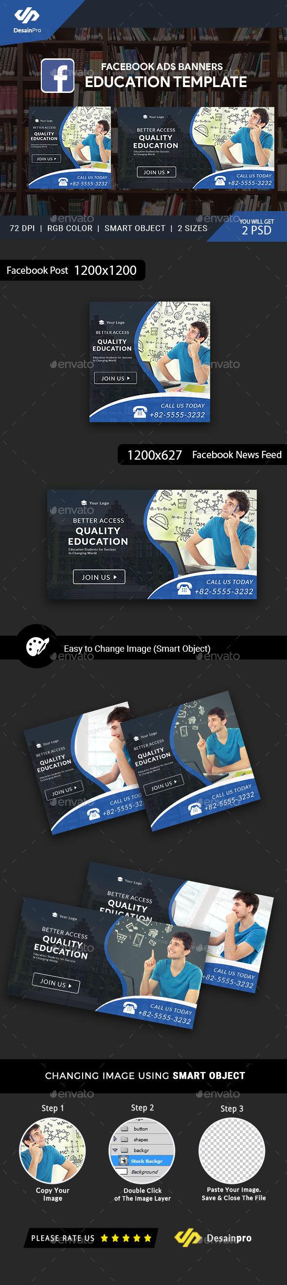 Education Facebook Ad Banners - AR - Social Media Web Elements