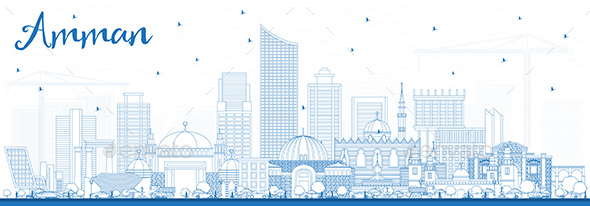 GraphicRiver Outline Amman Jordan Skyline with Blue Buildings 21199740