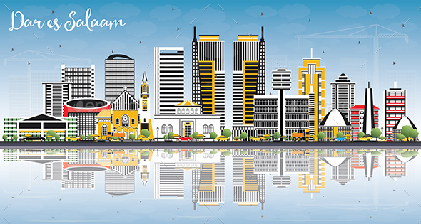 GraphicRiver Dar Es Salaam Tanzania Skyline with Color Buildings Blue Sky and Reflections 21199752