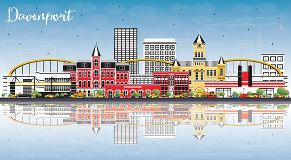 GraphicRiver Davenport Iowa Skyline with Color Buildings Blue Sky and Reflections 21199756