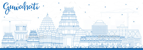 GraphicRiver Outline Guwahati India City Skyline with Blue Buildings 21199762