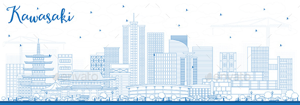 GraphicRiver Outline Kawasaki Japan City Skyline with Blue Buildings 21199766