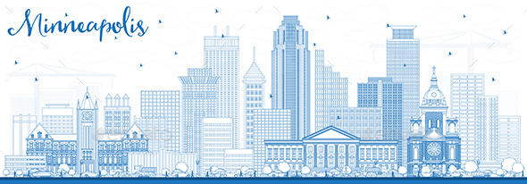 GraphicRiver Outline Minneapolis Minnesota USA Skyline with Blue Buildings 21199780