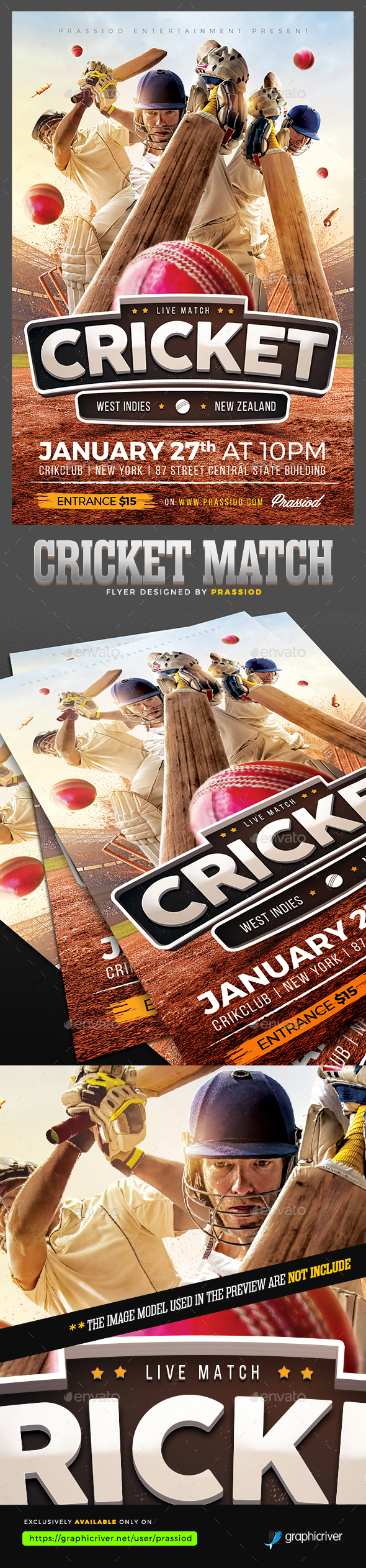 Cricket Match Flyer Template - Sports Events