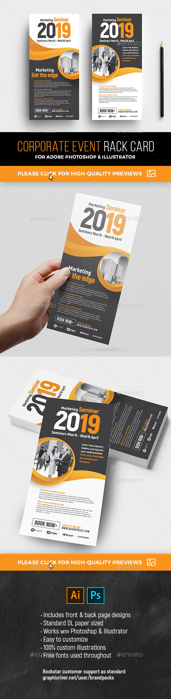 GraphicRiver Corporate Event Rack Card Template 21200083