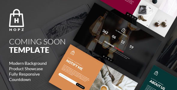 Hopz - eCommerce Coming Soon Template - Under Construction Specialty Pages
