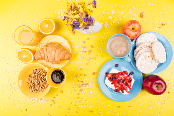 Healthy Breakfast. Various Assortment Set. - Stock Photo - Images