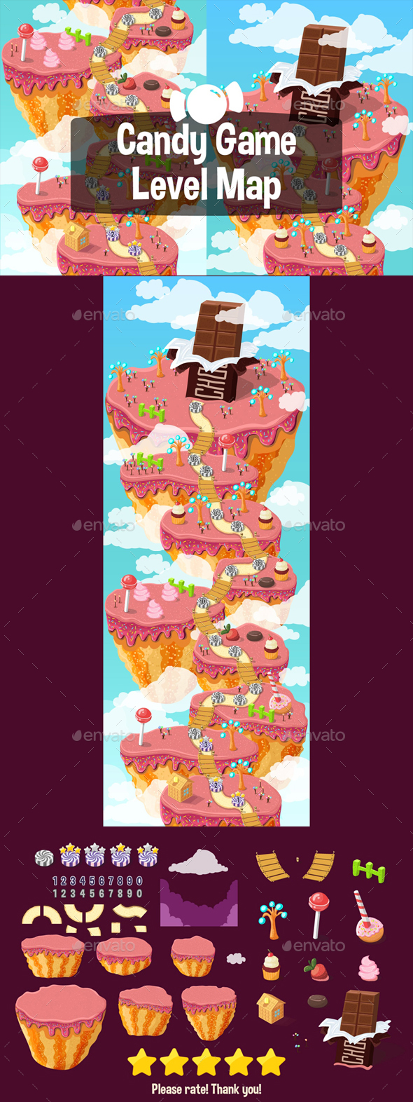 GraphicRiver Level Map Backgrounds Candy 21200312