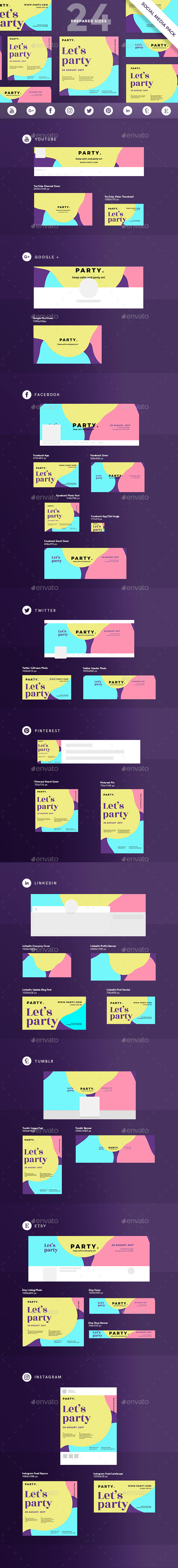 Color Party Social Media Pack - Miscellaneous Social Media