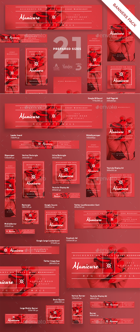 Manicure Banner Pack - Banners & Ads Web Elements