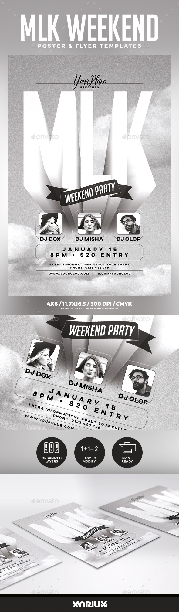 MLK Weekend Party Flyer & Poster - Holidays Events
