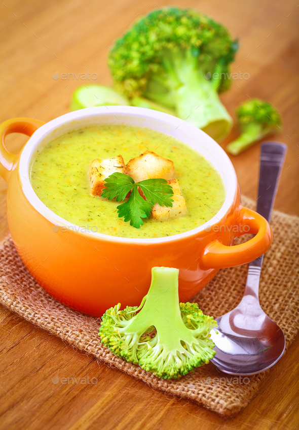 Tasty broccoli soup - Stock Photo - Images