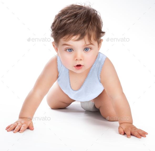 Sweet baby crawling - Stock Photo - Images