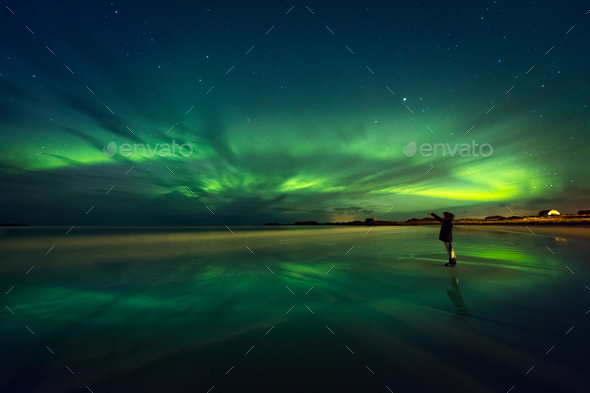 Amazing view on the northern lights - Stock Photo - Images