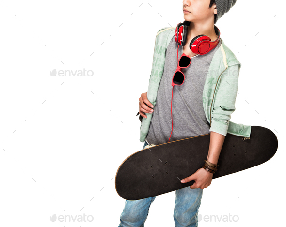 Skateboarder over white background - Stock Photo - Images