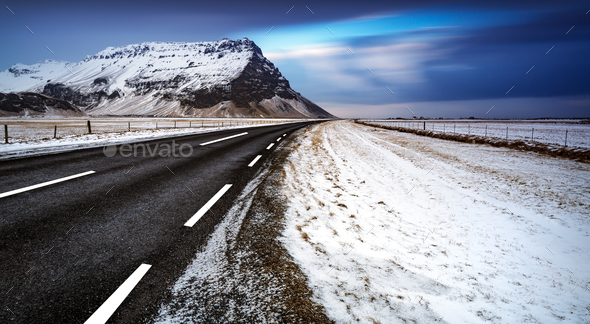 Road landscape in Iceland - Stock Photo - Images
