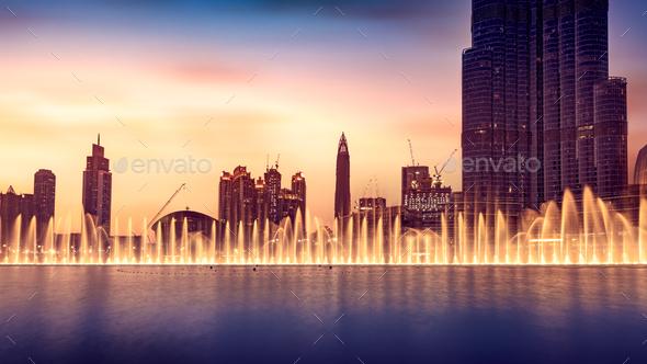Musical fountain of Dubai - Stock Photo - Images